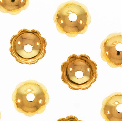 Bright Gold Plated Scalloped Flower Bead Caps 6mm (50)