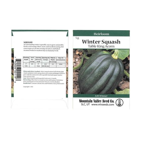 Table King Bush Acorn Winter Squash Garden Seeds - 5 g Packet - Heirloom, Non-GMO - Vegetable Gardening Seed - AAS Award