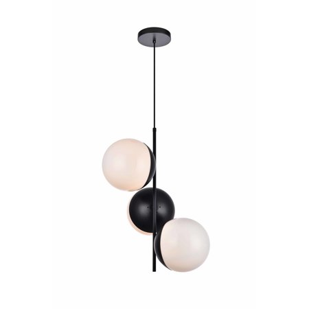 """Elegant Lighting LD6122 Eclipse 3 Light 18"""" Wide Pendant with Frosted Glass"""