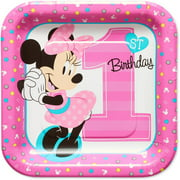 "7"" Minnie Mouse 1st Square Paper Party Plate, 8ct"