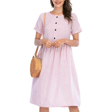 Multitrust Women Summer Striped Button Down Swing Midi Short Sleeve Shirt Dress