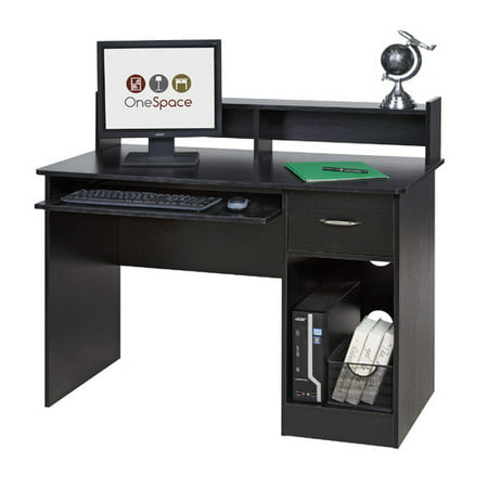OneSpace 50-LD0105 Essential Computer Desk, Hutch with Pull-Out Keyboard, Multiple - Modern Desk Hutch