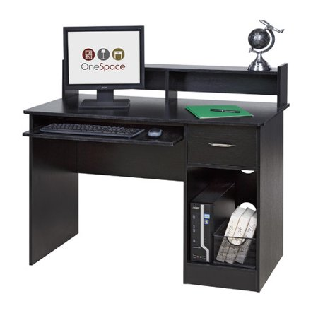 Vesa Keyboard Tray - OneSpace 50-LD0105 Essential Computer Desk, Hutch with Pull-Out Keyboard, Black
