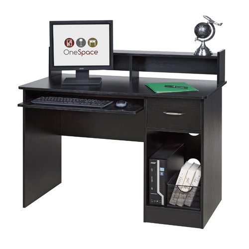 white computer desk with keyboard tray diy onespace 50ld0105 essential computer desk hutch with pullout keyboard black desks keyboard trays drawers