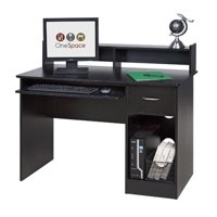 OneSpace 50-LD0101 Essential Computer Desk with Hutch and Keyboard Tray, Black Finish