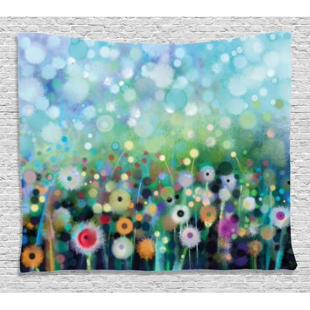 Watercolor Flower Home Decor Tapestry, Dandelion Seeds in Air Splashes Pollination Time Mother Earth Print, Wall Hanging for Bedroom Living Room Dorm Decor, 60W X 40L Inches, Multi, by Ambesonne