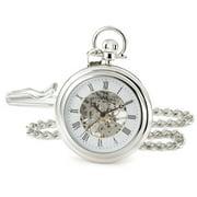 Stuhrling 6053 33113 Vintage Stainless Steel Mechanical Silver Mens Pocket Watch