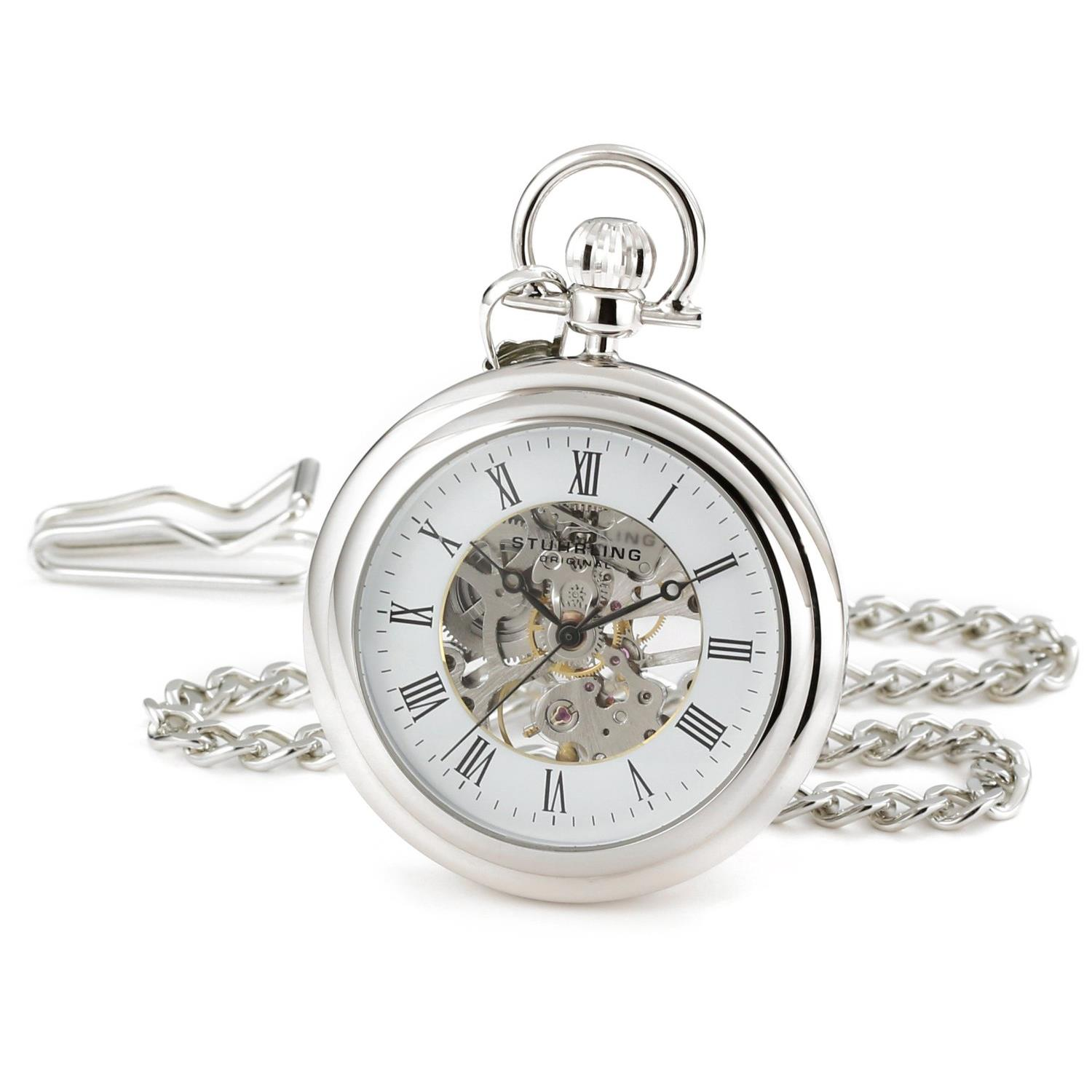 Stuhrling 6053 33113 Vintage Stainless Steel Mechanical Silver Mens Pocket Watch