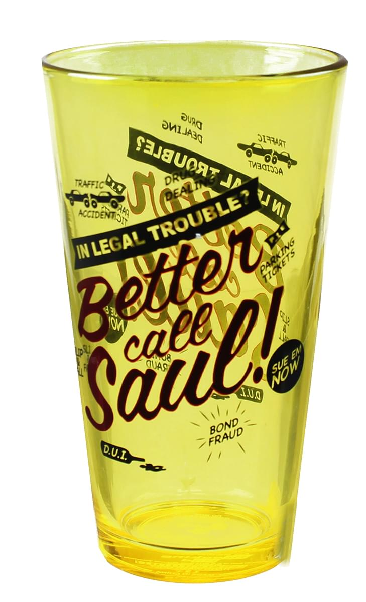"""Breaking Bad """"Better Call Saul"""" 16oz Pint Glass by Just Funky"""