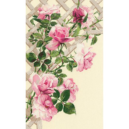 """Pink Roses On Lattice Counted Cross-Stitch Kit, 13.75"""" x 21.75"""", 16-Count"""