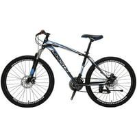 LOOCHO Mountain Bike 21 Speed 26 inch Shining SYS Double Disc Brake Suspension Fork Rear Suspension Anti-Slip Bikes
