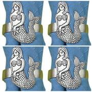 Nautical Pewter Mermaid Napkin Rings Set of 4