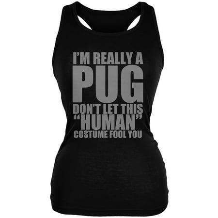 Halloween Human Pug Costume Black Juniors Soft Tank Top](Pics Of Halloween Pugs)