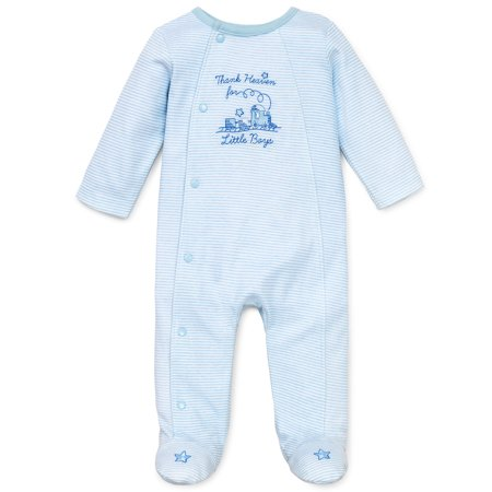 Thank Heaven For Little Boys Snap Front Footie Pajamas For Baby Boys Sleep N Play One Piece Romper Coverall Cotton Infant Footed Sleeper; Pijamas Para Bebes - White and Light Blue - Newborn