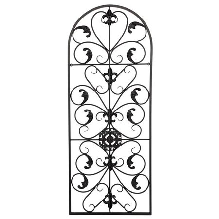 Tebru Wall Wrought Iron Ornaments, 41.5inch Semi-Circular Wall Art Victorian Style Iron Ornament Arch Flowers Decorative Decor, Wall Wrought Iron Ornaments, Wall Art Iron Ornaments ()