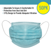 Disposable 3 Ply Mask- 50 Pack