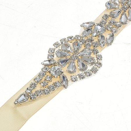 Luxury Rhinestone Crystal Wedding Dress Beaded Bridal Sash Belt Band Bride Gown Waistband 24'' Length - image 4 of 7