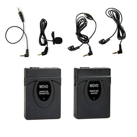 Wireless Lavalier Microphone (Movo 2.4GHz Wireless Lavalier Microphone System (164' Range) for Nikon D7100, D7000, D5500, D5300, D5200, D3300, D3200, D810, D800, D750, D610, D500, D90, D5, D4, D4S, D3X, DF DSLR Cameras)