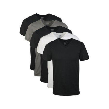 Gildan Mens Short Sleeve V-Neck Assorted Color T-Shirt, 5-Pack (under tshirts for men xxl vneck)