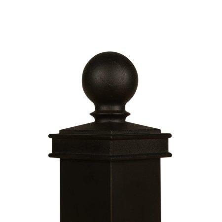 2.5x2.5 Black Aluminum Ball Cap - Post Cap - Finial Cap