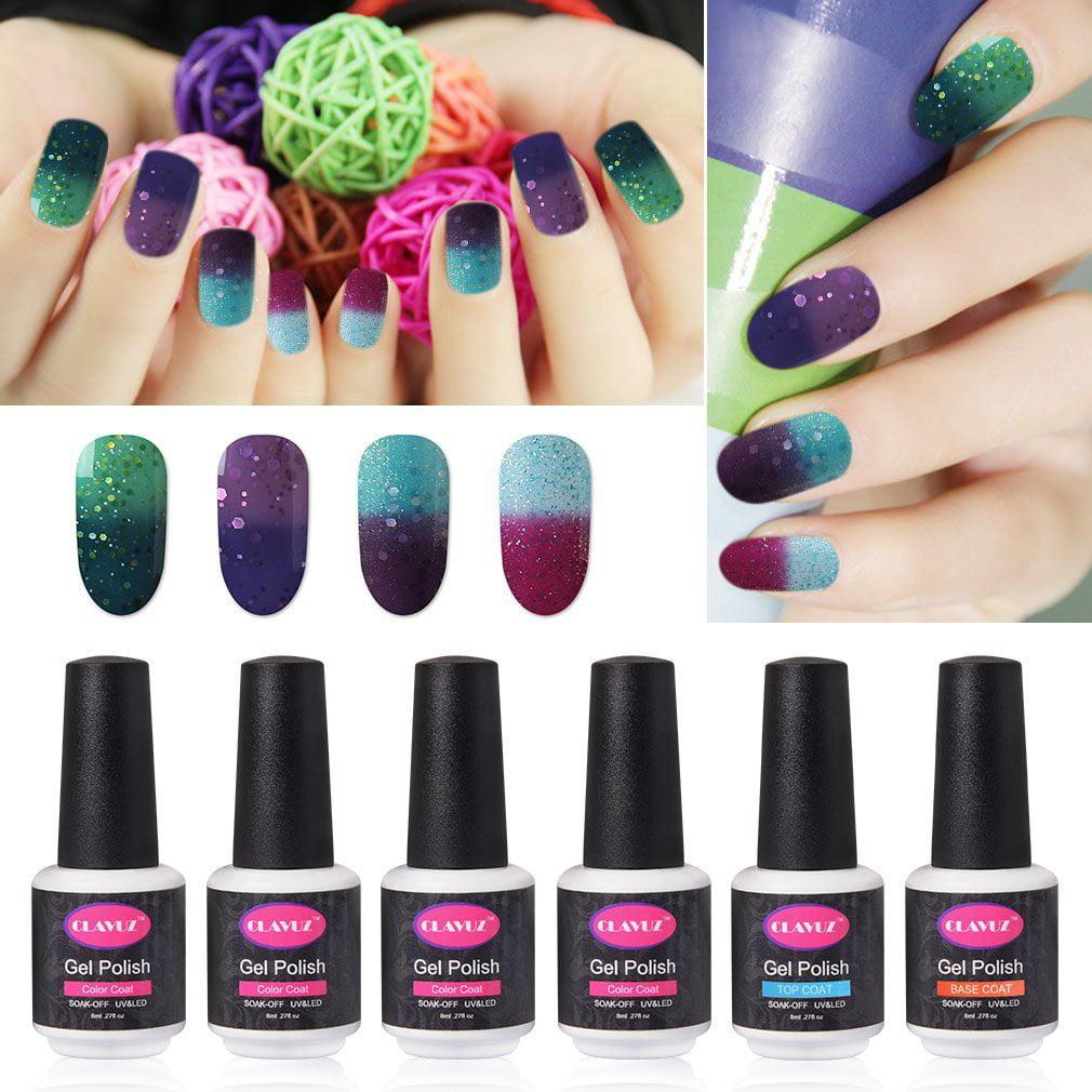 Color Changing Gel Nail Polish: CLAVUZ Gel Nail Polish Set Soak Off Color Changing Nail