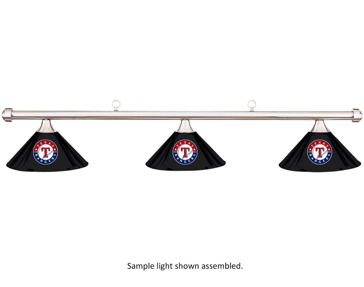 MLB Texas Rangers Black Metal Shade & Chrome Bar Billiard Pool Table Light by Imperial International