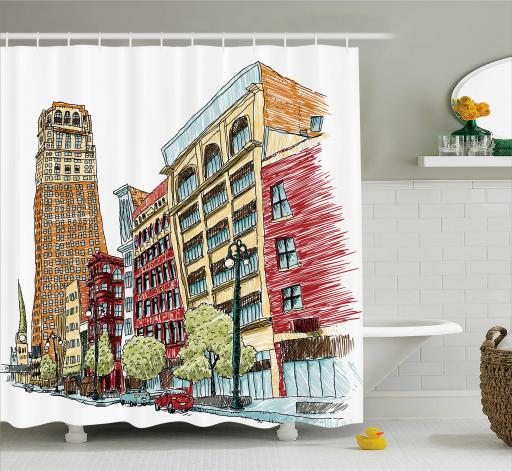 Farm House Decor Shower Curtain, Grunge Graphic of European Avenue Modern Urban Life Downtown City Streets , Fabric Bathroom Set with Hooks, 69W X 75L Inches Long, Red Orange, by Ambesonne