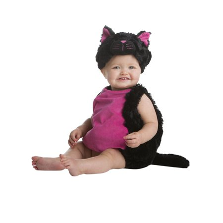Kitty Cat Costumes For Girls (Infant Girls Plush Black Kitty Cat Kitten Costume Baby Jumper & Hat)