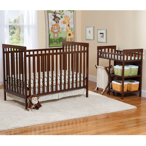 Child of Mine Sweet & Simple 3-in-1 Fixed Side Crib and Changing Table Combo, Mocha