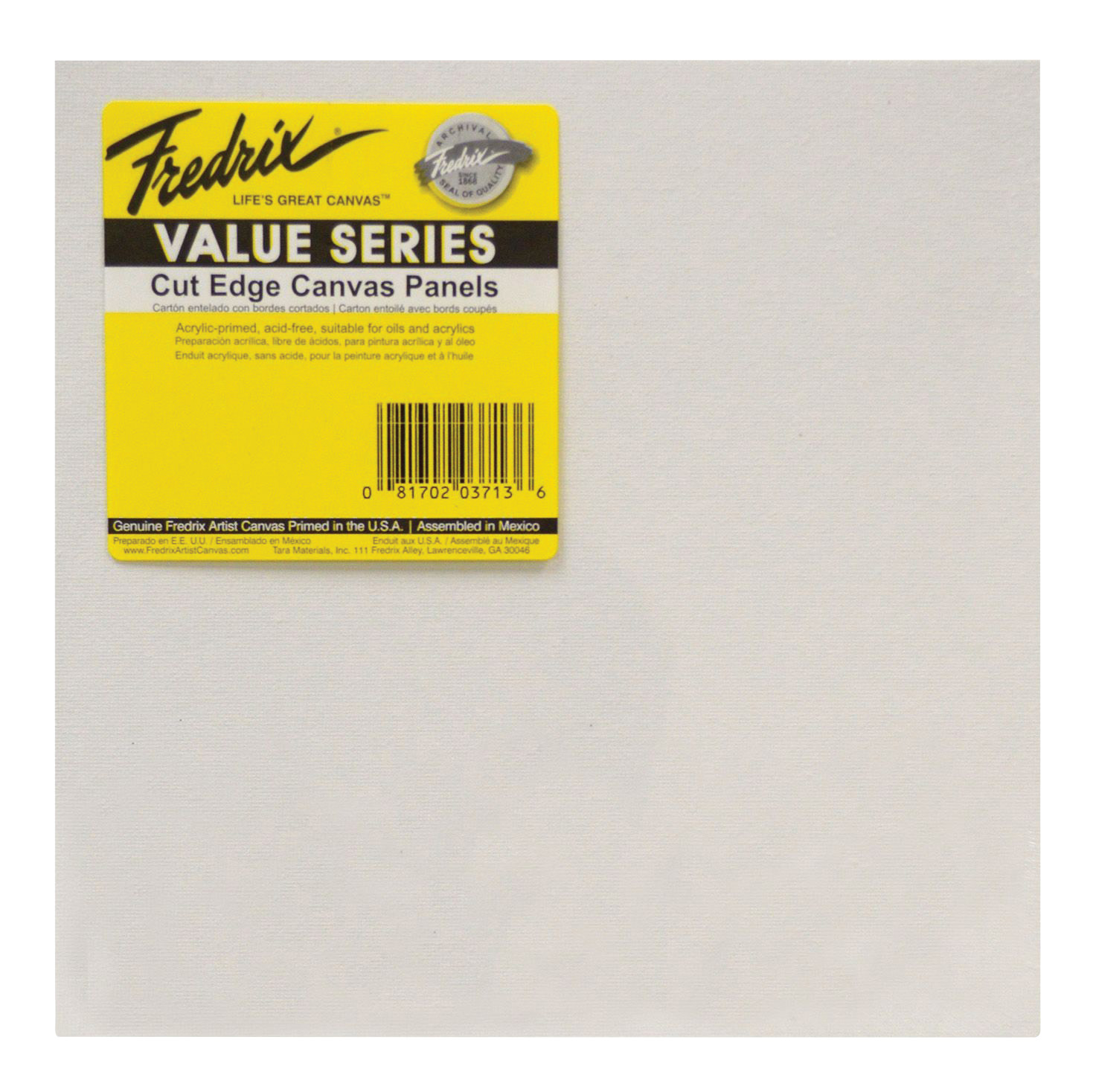 Fredrix Value Series Cut Edge Canvas Panel, 8 in Square, White, Pack of 25