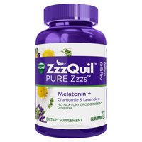 Vicks ZzzQuil PURE Zzzs Melatonin Natural Flavor Sleep Aid Gummies with Chamomile, Lavender, & Valerian Root, 1mg per gummy, 72 Count