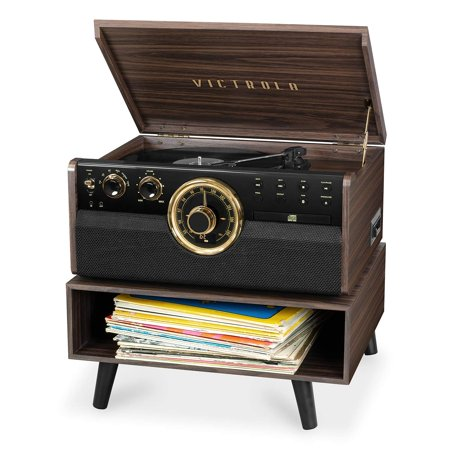 Victrola 6-in-1 Wood Bluetooth Mid Century Record Player with 3-Speed Turntable, CD, Cassette Player and Radio with Storage Stand (Certified Refurbished) (Cassette Cd Record Player)