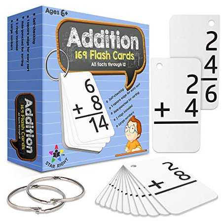 Star Right Education Addition Flash Cards 0-12 (All Facts 169 Cards) With 2 Rings - image 1 of 6
