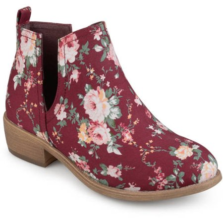 Brinley Co. Women's Floral Fabric Round Toe Stacked Heel Side Slit