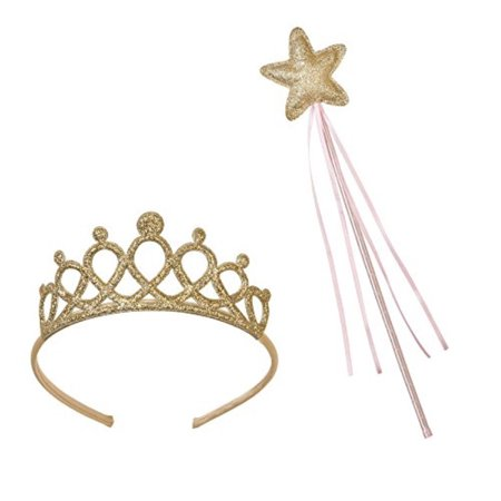 Tooth Fairy Tiara (Talking Tables We Heart Pink Princess Tiara and Fairy Wand Set for a Childrens Party or Dress Up Pretend Play,)