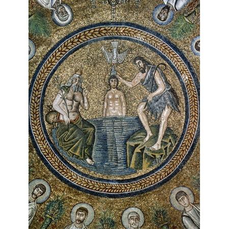 Italy, Ravenna, Arian Baptistry, Mosaic, Baptism of Jesus, 6th Century Print Wall