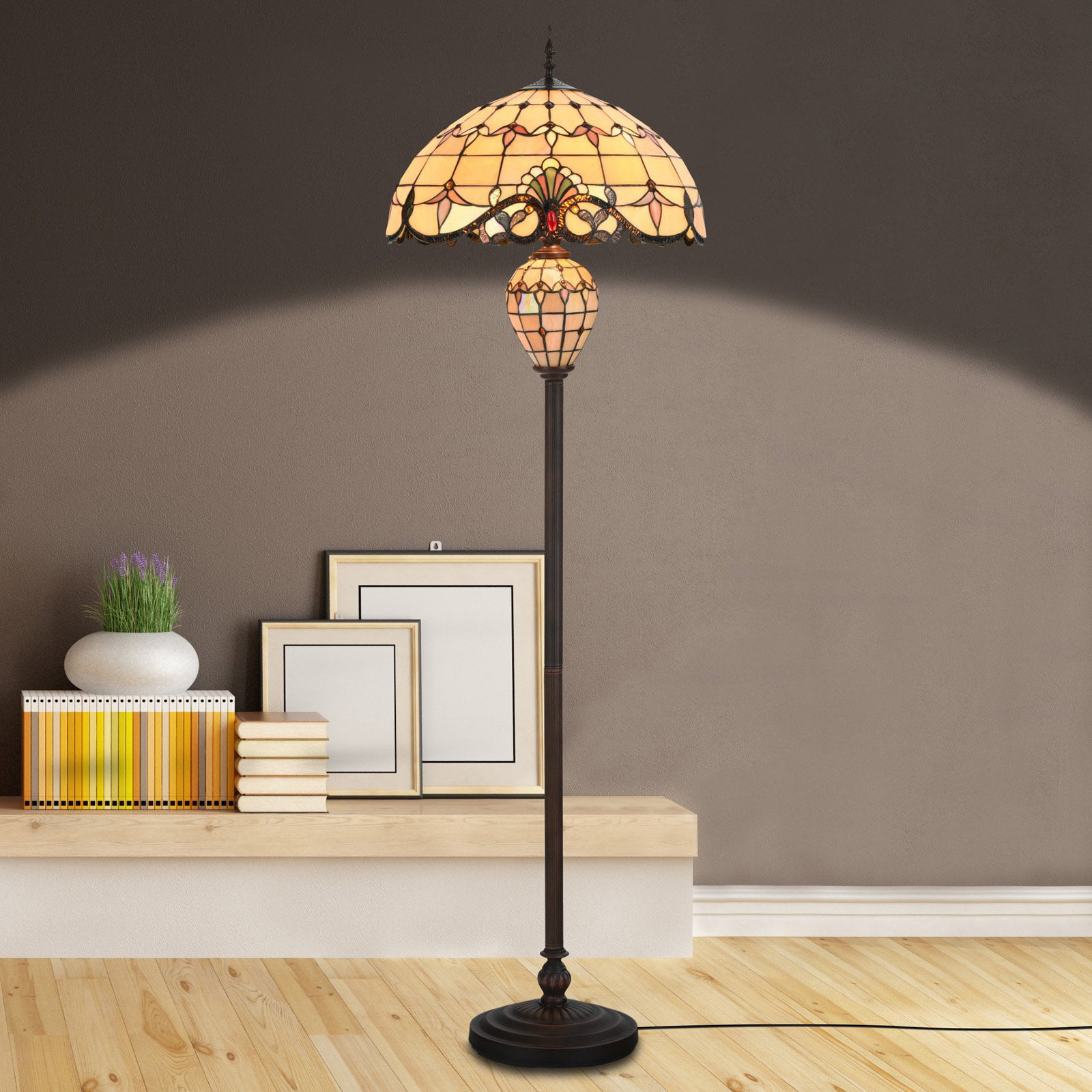 Cloud Mountain Tiffany Style Victorian Stained Glass Floor Lamp by Cloud Mountain