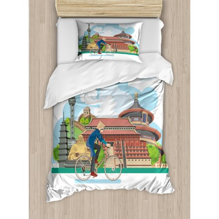 Ancient China Twin Size Duvet Cover Set, Chinese Elements Traditional Architecture and Costumes Behind a Cycling Man, Decorative 2 Piece Bedding Set with 1 Pillow Sham, Multicolor, by Ambesonne - Twin Costumes