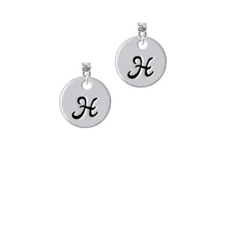 Silvertone Large Script Letter - H - 3/4'' Disc - Clear Crystal Post Earrings
