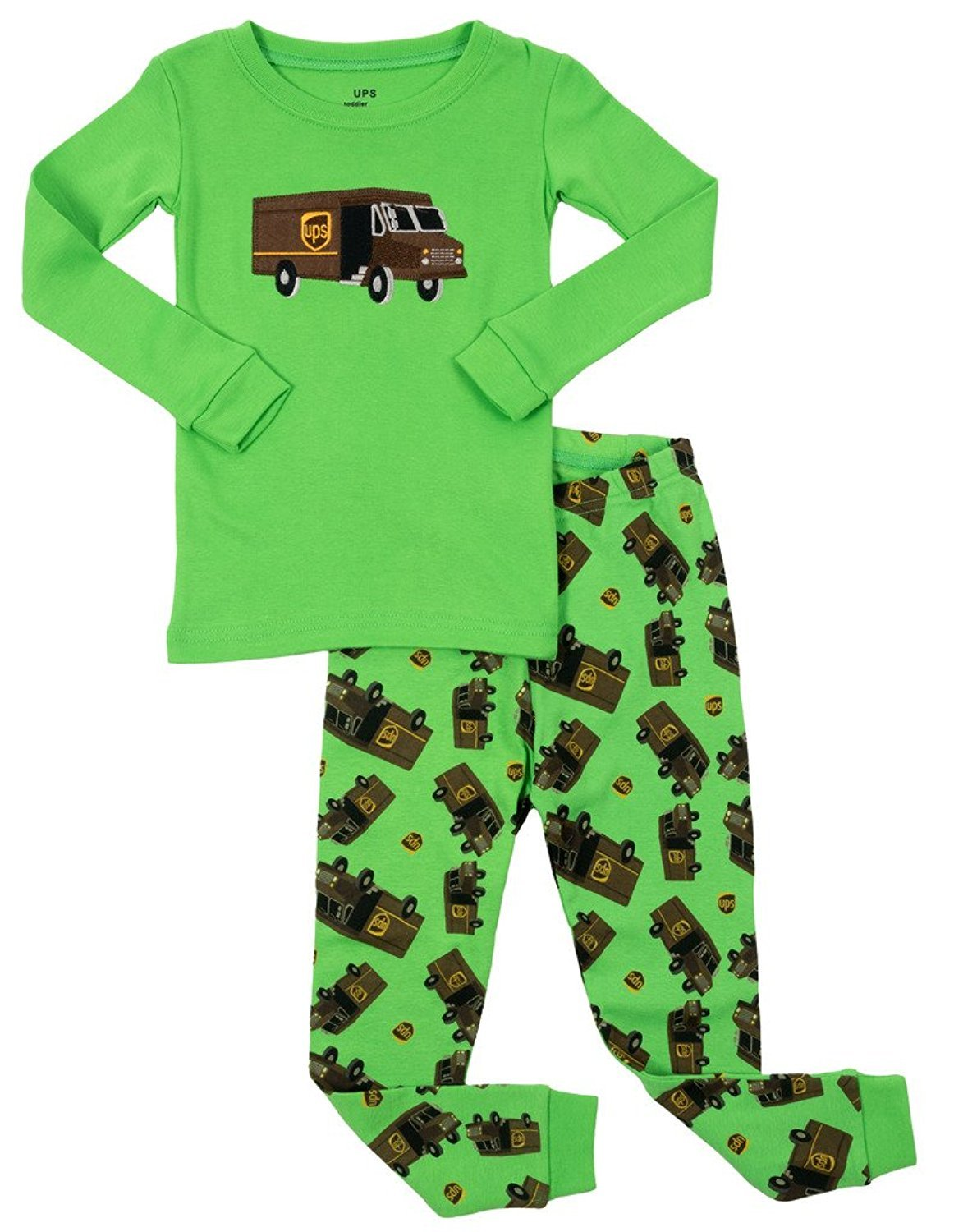 Leveret Boys UPS 2 Piece Pajama Set 100% Cotton Green 3 Toddler