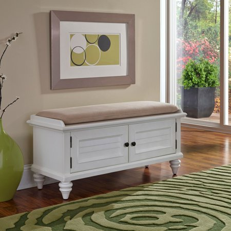 Bermuda Brushed White Upholstered Bench