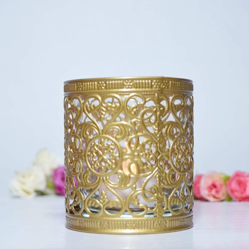 Decorative Tealight Candle Cup Holder - Gold