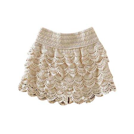 Lavaport Women Summer Beach Lace Crochet Culottes Elastic Waist Short Pants Elastic Waist
