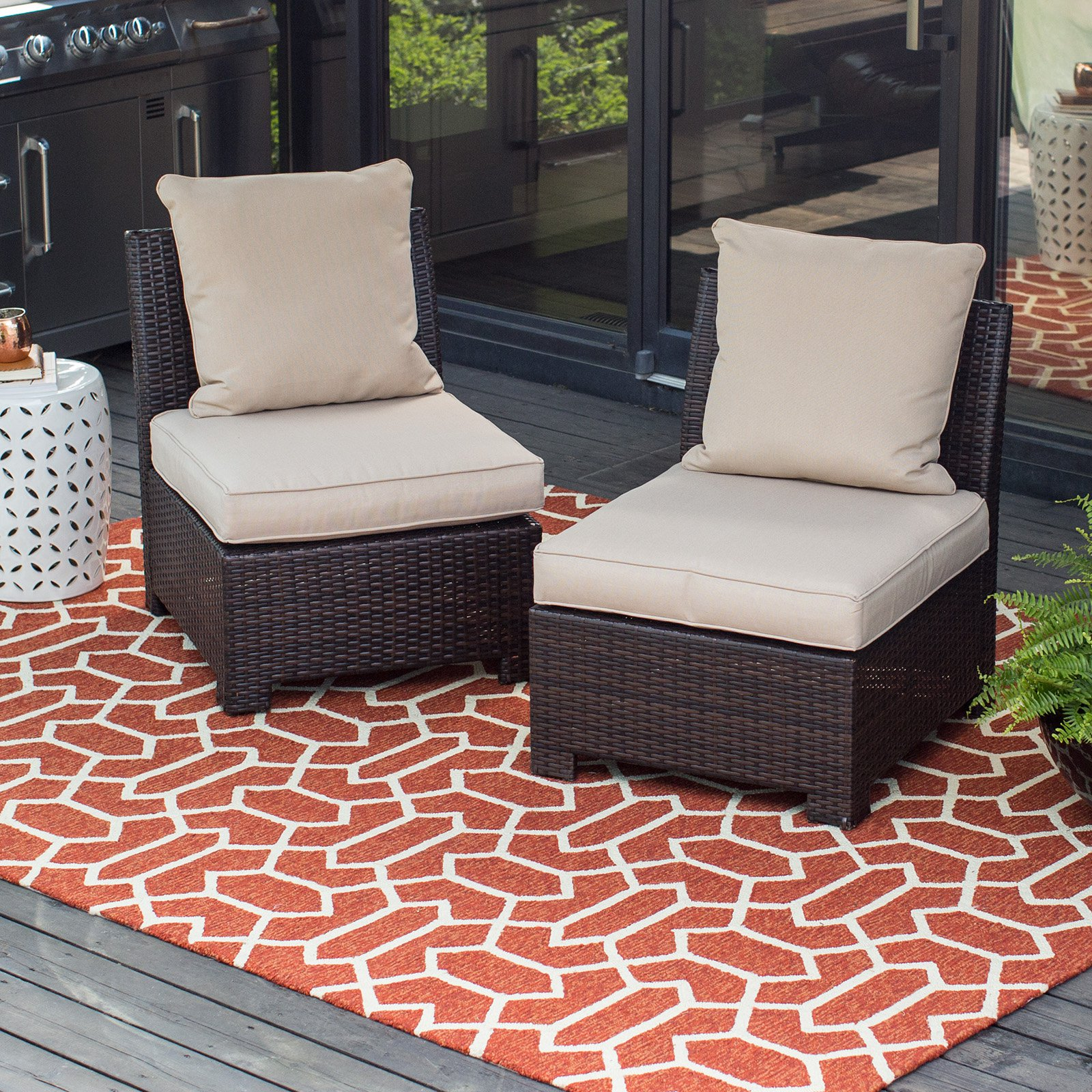 Coral Coast South Isle All-Weather Wicker Dark Brown Middle Armless Chair by 4 Seasons Global Inc