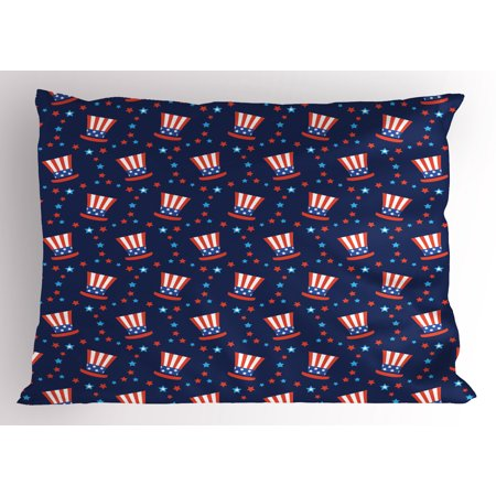 USA Pillow Sham Uncle Sam Hats American Culture Celebration Independence Anniversary Concept, Decorative Standard Queen Size Printed Pillowcase, 30 X 20 Inches, Navy Blue White Red, by Ambesonne