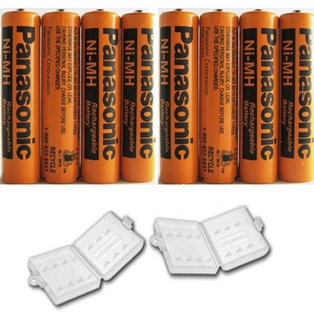 8 Pack Panasonic NiMH AAA Rechargeable Battery for Cordless Phones with 2 Battery Cover Cases (Bulk Packaging non-retail (Nimh Cordless Telephone Battery)