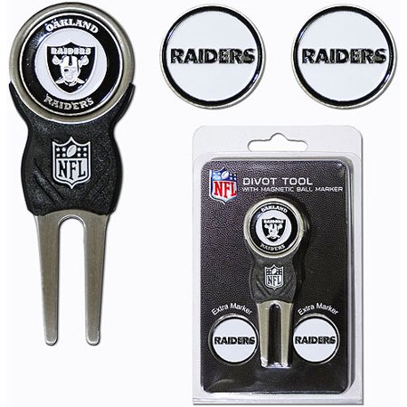 Team Golf NFL Oakland Raiders Divot Tool Pack With 3 Golf Ball Markers