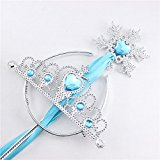 2 Pcs Princess Dress Up Accessories Role Play Prop Crown Tiara Headband and Snowflake Wand Set For Kids Birthday Christmas Toy Gift Light Blue