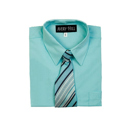 Avery Hill Boys Short Sleeve Dress Shirt With Windsor Tie - White Dress Shirt Boys