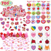Valentines Party Favors 700 Pcs - Valentines Stickers - Valentines Day Mailbox - Valentine Favors for Kids - Stickers, Temporary Tattoos, Stampers & Stickers - Happy Valentines Day Party Favor